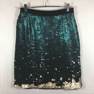 Reversible Emerald and Gold Sequin Skirt